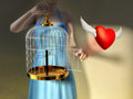 A young woman opening a cage to let an heart fly free digital illustration Royalty Free Stock Image