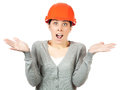 Young woman with orange hard hat Royalty Free Stock Photo