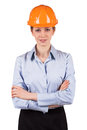 Young woman orange protective helmet Royalty Free Stock Photos