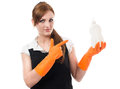 Young woman in orange rubber gloves Royalty Free Stock Photo