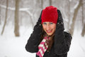 Young woman outdoor in winter Stock Photos