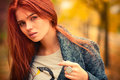 Young woman outdoors portrait autumn Royalty Free Stock Photo