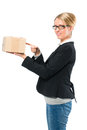 Young woman with a parcel in front of white background she ship package or would send packet symbol for logistics Stock Photography