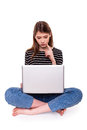 Young woman with pc hand on chin e commerce stock image she is looking at laptop screen Stock Images