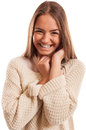 Young woman with a perfect smile wearing knitted blouse and isolated on white Stock Images