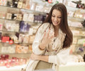 Young woman in perfumery pretty Stock Photo