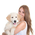 Young woman with pet dog holidng labrador Stock Images