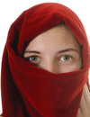 Young woman petty girl wearing a headscarf around face isolated on white Stock Photography
