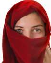 Young woman petty girl wearing a headscarf around face isolated on white Royalty Free Stock Photos