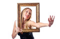 Young woman with picture frame Royalty Free Stock Photography