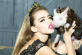 Young woman and pig Royalty Free Stock Photo