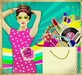 Young woman in pink dress retro shopping poster background beautiful Royalty Free Stock Photo