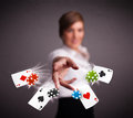Young woman playing with poker cards and chips Royalty Free Stock Photo