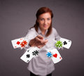 Young woman playing with poker cards and chips pretty Royalty Free Stock Image