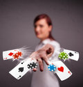 Young woman playing with poker cards and chips pretty Royalty Free Stock Images