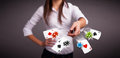 Young woman playing with poker cards and chips pretty Royalty Free Stock Photography