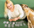 Young woman playing solitaire Royalty Free Stock Photo