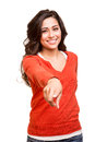 Young woman pointing to the front beautiful Royalty Free Stock Photos