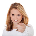 Young woman points with finger attractive all on white background Stock Images