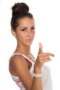 Young woman points finger at you pretty Royalty Free Stock Image
