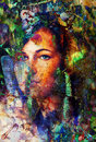 Young woman portrait, with long dark hair and blue eye , color painting and spots structure, Abstract background. Royalty Free Stock Photo