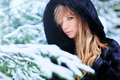 Young woman portrait winter outdoors Royalty Free Stock Photography