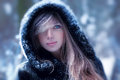 Young woman portrait winter outdoors Royalty Free Stock Images