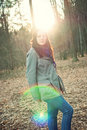 Young woman posing in a autumn forest Royalty Free Stock Photo