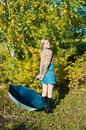 Young woman posing near a tree Royalty Free Stock Photo
