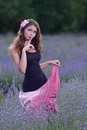 Young woman posing outdoors attractive girl field blossoming lavender Royalty Free Stock Photos