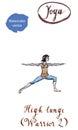 Young woman practicing Yoga asana Virabhadrasana two- warrior po