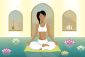 Young woman practicing yoga illustration of a in a peaceful room Royalty Free Stock Images