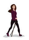Young woman practising nordic walking vector illustration of a Royalty Free Stock Photo