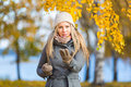 Young woman practising self defence outdoor in autumn Royalty Free Stock Images