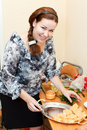 Young woman preparing sandwiches Royalty Free Stock Photography