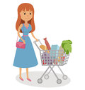Young woman pushing supermarket shopping cart full of groceries. Flat style vector illustration  on white background. Royalty Free Stock Photo