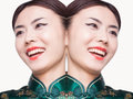 Young woman in qipao digital composite Royalty Free Stock Photo