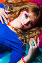 Young woman with rainbow make up beautiful eye Royalty Free Stock Photos