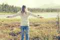 Young Woman raised hands standing alone walking outdoor Travel Royalty Free Stock Photo