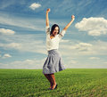 Young woman raising hands up Royalty Free Stock Photos