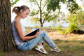 Young woman reading book Royalty Free Stock Image