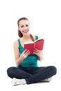 Young woman reading book over white background Royalty Free Stock Images