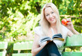 Young woman reading book in park Stock Images