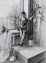 Young woman reading a book sitting near window and it is pencil drawing Stock Photography