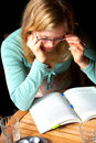 Young Woman Reading and Studying. Stock Photography