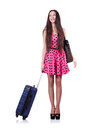 Young woman ready for summer vacation on white Royalty Free Stock Images