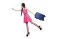 Young woman ready for summer vacation on white Royalty Free Stock Image