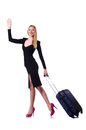 Young woman ready for summer vacation on white Royalty Free Stock Photo
