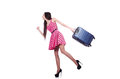 Young woman ready for summer vacation on white Royalty Free Stock Photography