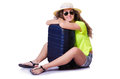 Young woman ready for summer vacation on white Stock Photos